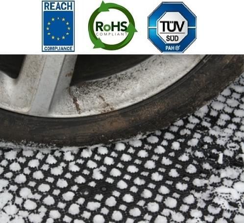Mata leżąca na śniegu pod kołem samochodu. W górnej części zdjęcia widać symbole Reach, ROHS oraz TUV PAH
